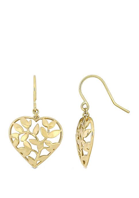 Floral Heart Hook Earrings in 10k Yellow Gold