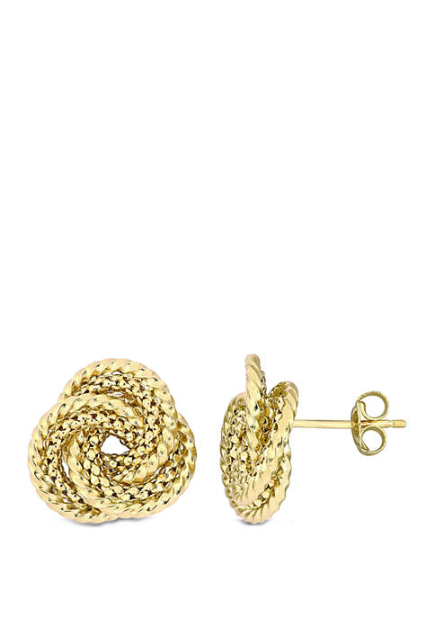 Textured Interlaced Stud Earrings in 10k Yellow Gold