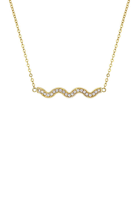 Curvy Bar Necklace in 10k Yellow Gold with White Gold Accents