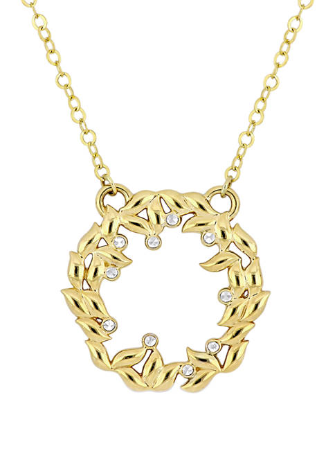 Textured Circle Of Life Necklace in 10K Yellow Gold with White Gold Accents