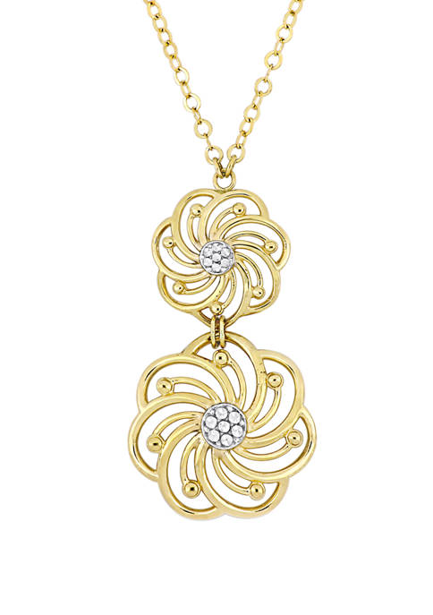 Tiered Flower Pendant with Chain in 10k Yellow and White Gold