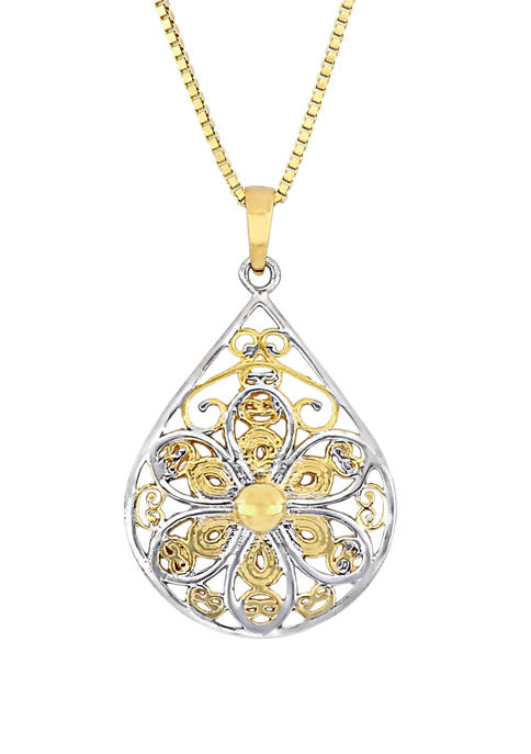 Textured Flower Pendant with Chain in 10K Yellow and White Gold