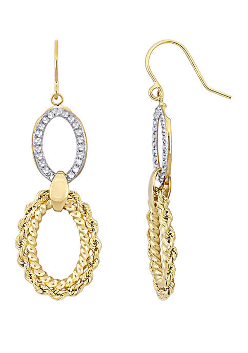 Belk & Co. Textured Hoop Dangle Hook Earrings