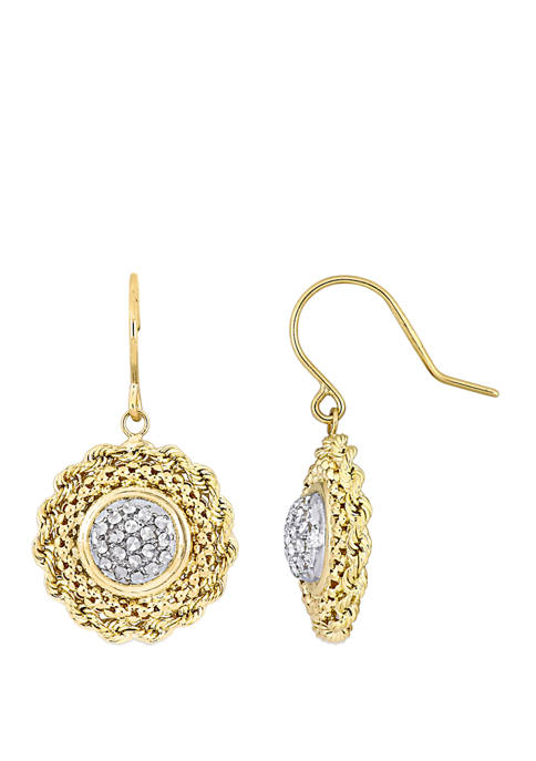 Textured Vintage Drop Earrings in 10k Yellow and White Gold