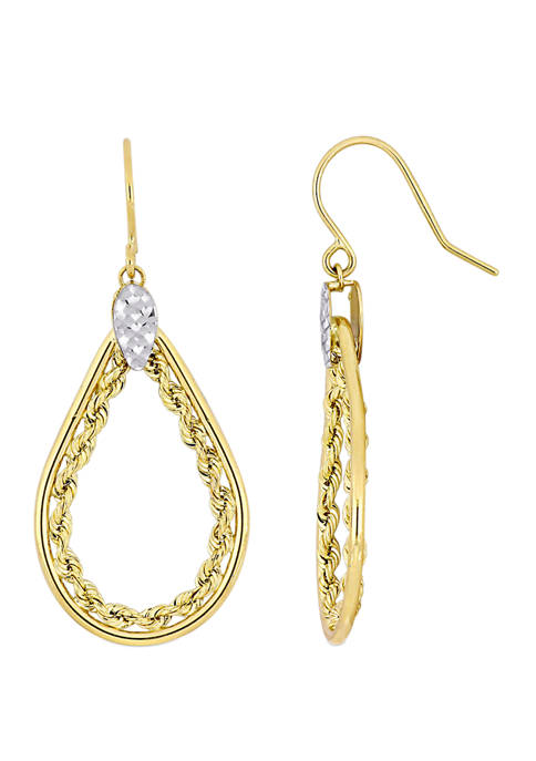 Textured Teardrop Earrings in 10k Yellow Gold with White Gold Accents