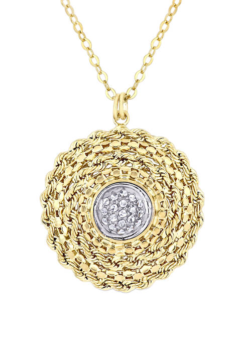 Textured Double Circle Pendant with Chain in 10K Yellow and White Gold