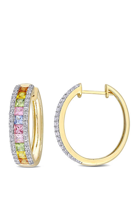 5.75 ct. t.w. Multi Color Sapphire Hoop Earrings in 14k Yellow Gold