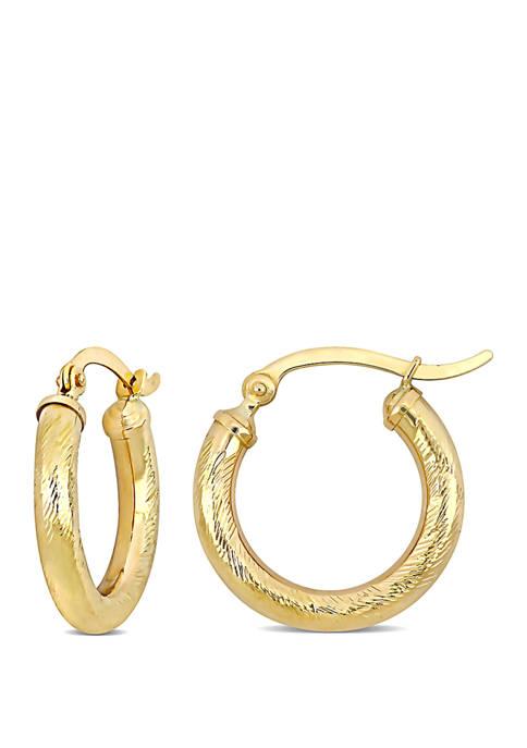 Belk & Co. Textured Hoop Earrings in 10k