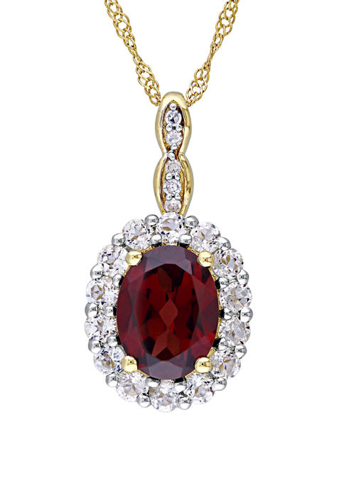 1.38 ct. t.w. Garnet, 5/8 ct. t.w. White Topaz, and 1/10 ct. t.w. Diamond Accent Vintage Necklace in 14K Yellow Gold