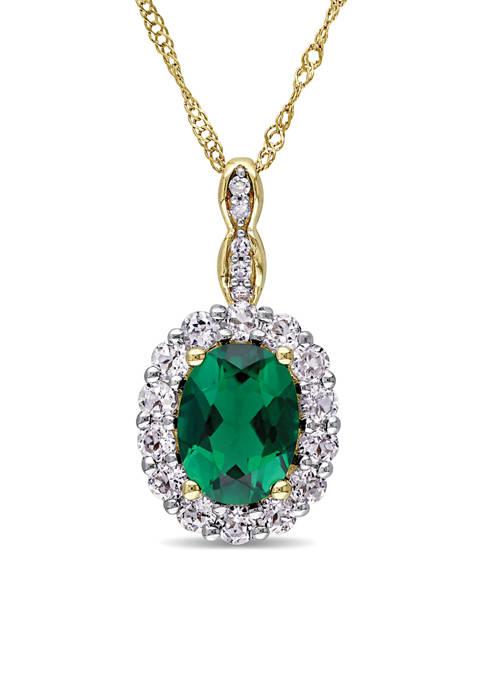 Belk & Co. Oval Created Emerald, White Topaz,