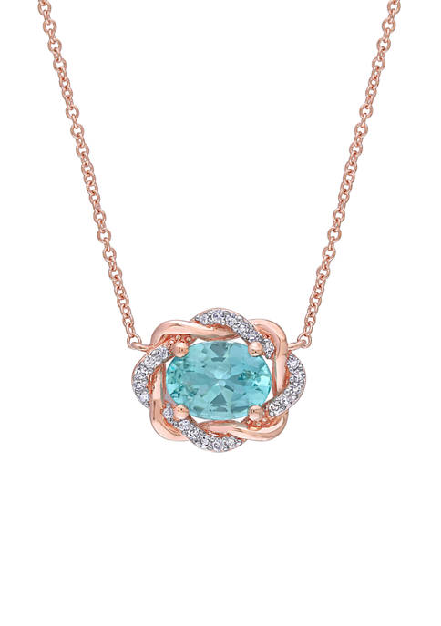 1 1/3 ct. t.w. Apatite and 1/10 ct. t.w. Diamond Twisted Halo Necklace