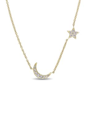 Belk Co. Women 1 6 Ct. T.W. Diamond Star And Moon Necklace In 14K Yellow Gold