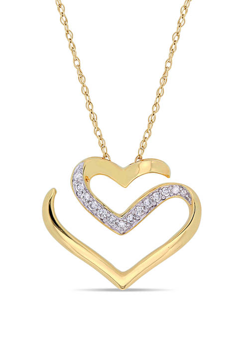1/10 ct. t.w. Diamond Cursive Double Heart Necklace in 10K Yellow Gold