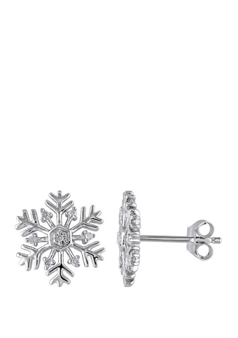 1/10 ct. t.w. Diamond Accent Snowflake Stud Earrings in Sterling Silver