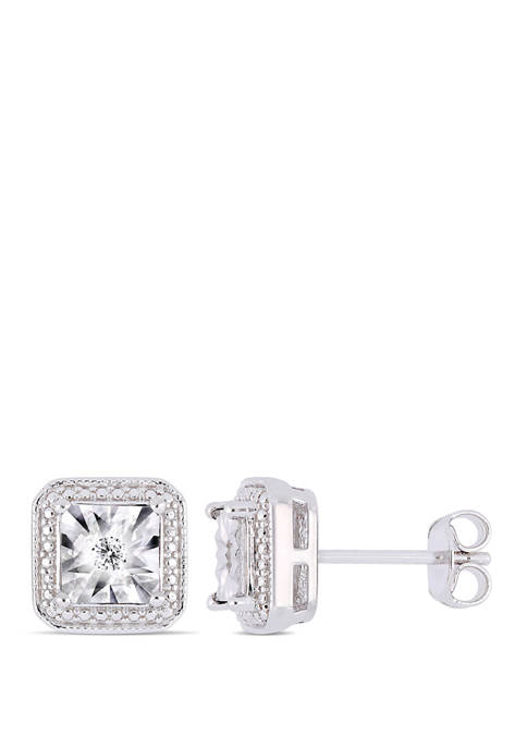 1/10 ct. t.w. Diamond Accent Square Halo Earrings in Sterling Silver