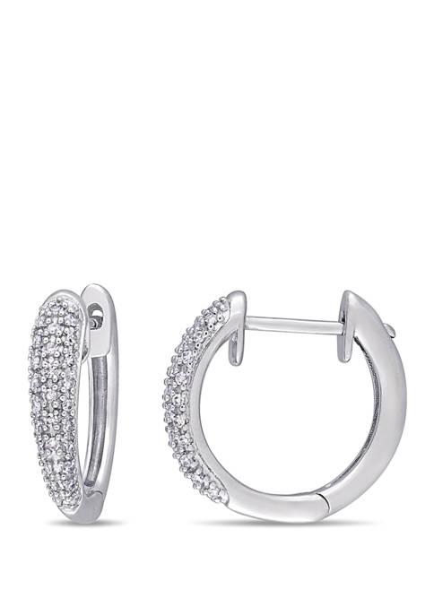 1/4 ct. t.w. Diamond Cluster Hoop Earrings in 14K White Gold