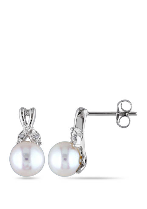 Pearl and 1/10 ct. t.w. Diamond Accent Twist Earrings in 10K White Gold