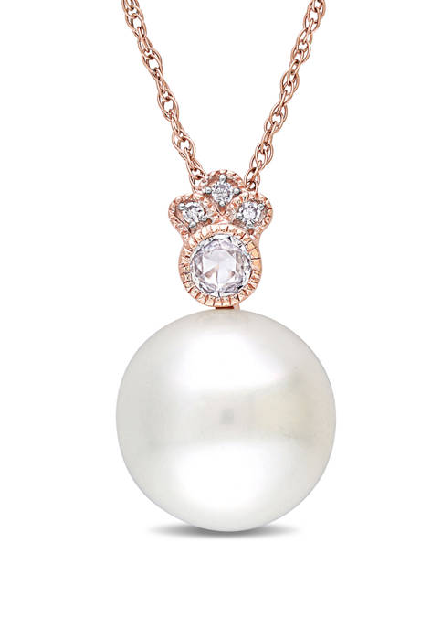 Pearl, 1/7 ct. t.w. White Sapphire and 1/10 ct. t.w. Diamond Drop Necklace in 10K Rose Gold