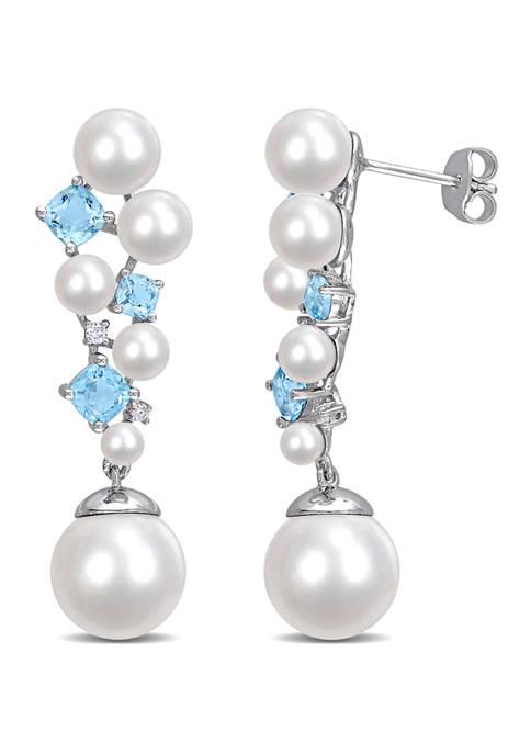 Pearl, 2.10 Swiss Blue Topaz ct. t.w. and 1/10 ct. t.w. Diamond Drop Earrings in Sterling Silver