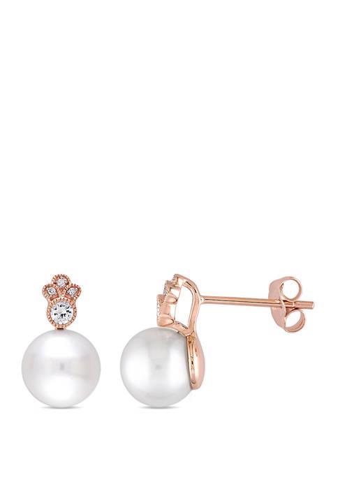 Belk & Co. Pearl, White Sapphire 1/7 ct.