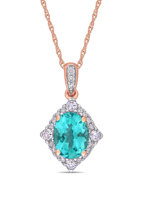 1.25 ct. t.w. Apatite, 1/5 ct. t.w. Sapphire, and 1/10 ct. t.w. Diamond Halo Drop Pendant with Chain in 10K Rose Gold