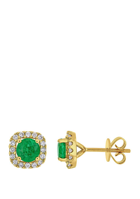 4/5 ct. t.w. Emerald and 1/4 ct. t.w. Diamond Square Halo Stud Earrings in 14K Yellow Gold
