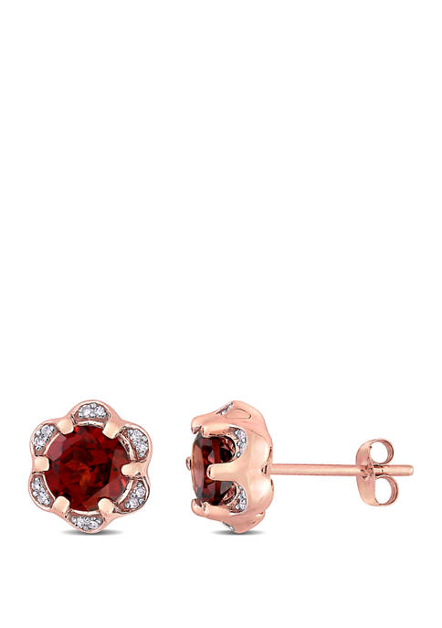 2 ct. t.w. Garnet and 1/10 ct. t.w. Diamond Accent Flower Stud Earrings in 14K Rose Gold