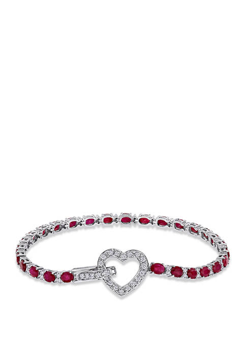 5.6 ct. t.w. Ruby and 3/4 ct. t.w. Diamond Heart Tennis Bracelet in 18K White Gold