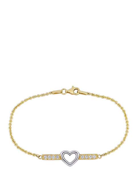 3/8 ct. t.w. White Topaz Heart Bar Bracelet in 10K Yellow and White Gold