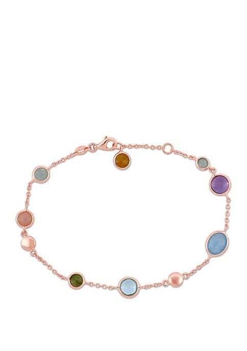 Belk & Co. Multi Color Gemstone Station Bracelet