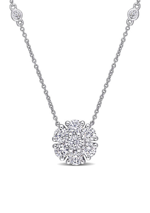 1.4 ct. t.w. Lab Created Moissanite Station Necklace in 10K White Gold