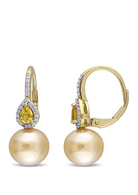 9 to 9.5 Millimeter Golden South Sea Pearl, 3/8 ct. t.w. Yellow Sapphire and 1/8 ct. t.w. Diamond Drop Earrings in 14k Yellow Gold