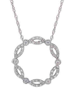 0.08 CTTW With 16 Rope Chain Bar Style Pendant In 10k Rose And White Gold With Diamonds