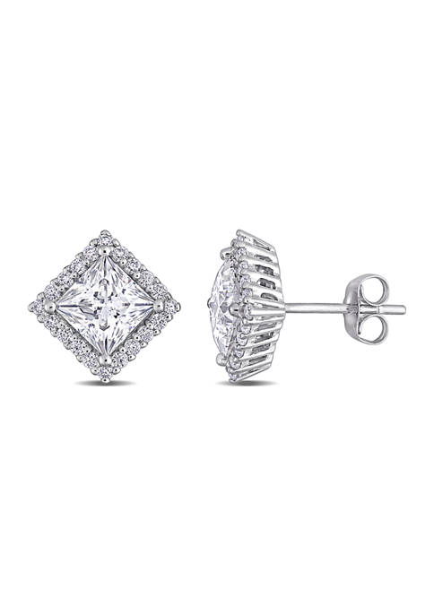 2.8 ct. t.w. Lab Created Moissanite Halo Earrings in 10K White Gold