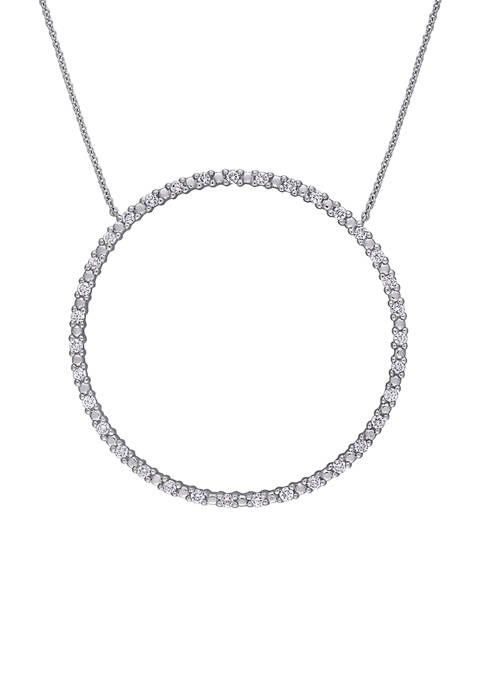 3/4 ct. t.w. Diamond Circle of Life Necklace in 10K White Gold