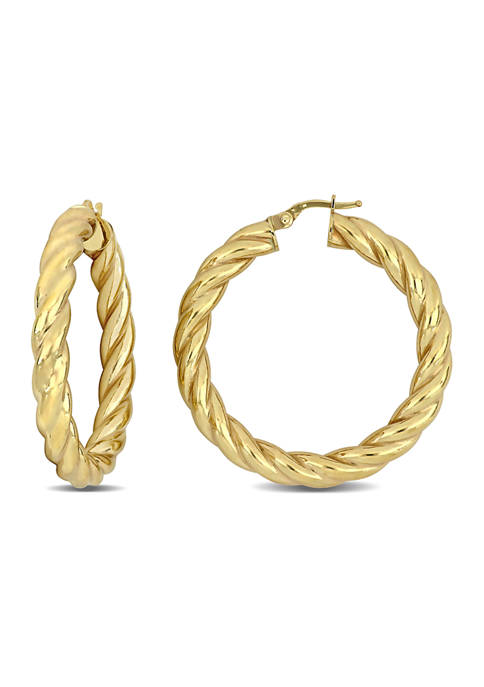 Belk & Co. Oval Twist Hoop Earrings in