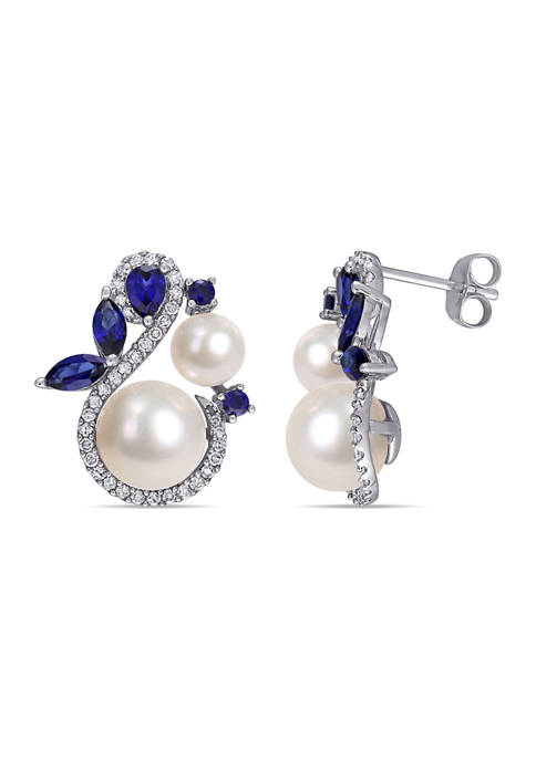 Belk & Co. Cultured Freshwater Pearl, Created Sapphire