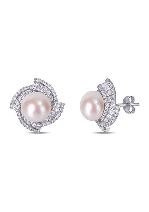 9.5-10 MM Cultured Freshwater Pearl and Cubic Zirconia Geometric Stud Earrings in Sterling Silver