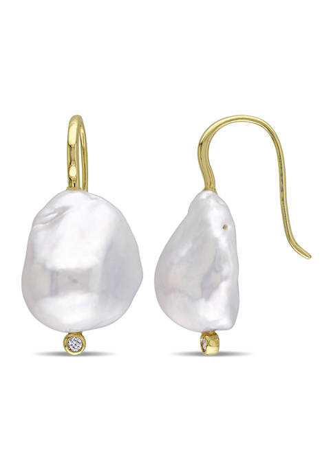 14-14.5 Millimeter Cultured Freshwater Baroque Pearl and Diamond Hook Earrings in 14k Yellow Gold
