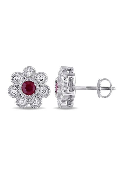 3/4 ct. t.w. Ruby and 3/8 ct. t.w. Diamond Flower Stud Earrings in 14k White Gold
