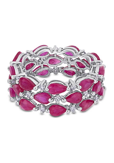 6.75 ct. t.w. Ruby and 1/2 ct. t.w. Diamond 3-Row Cluster Eternity Band in 14k White Gold