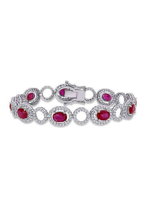 8.5 ct. t.w. Ruby and 3.37 ct. t.w. Diamond Oval Link Bracelet in 18k White Gold