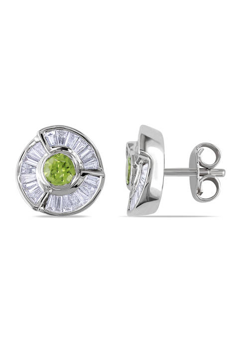 1.2 ct. t.w. Peridot and 1.75 ct. t.w. Diamond Baguette Cut Halo Earrings  in 18K White Gold