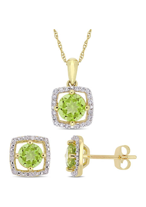 2-Piece Set 2 ct. t.w. Peridot and 1/6 ct. t.w. Diamond Square Halo Necklace and Earrings In 10K Yellow Gold