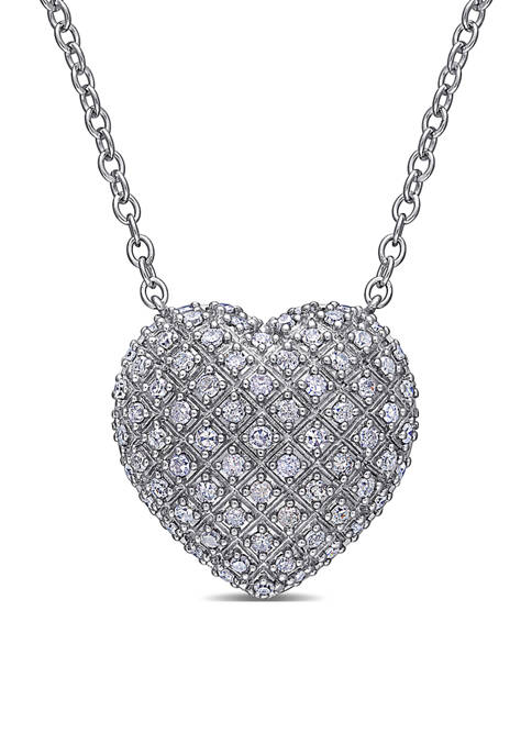 1 ct. t.w. Diamond Clustered Heart Necklace In Sterling Silver