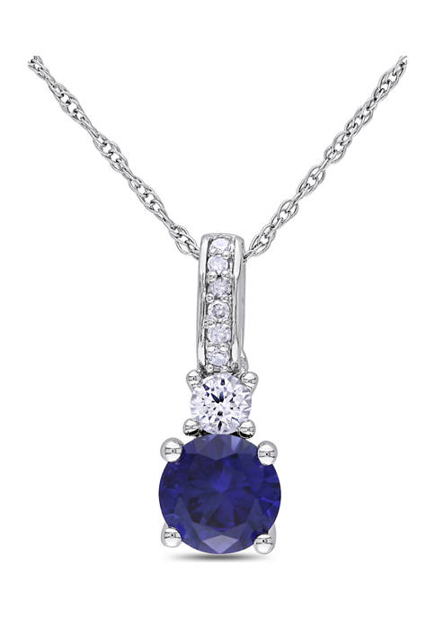 1.16 ct. t.w. Created Blue and White Sapphire Necklace with Diamonds in 10k White Gold