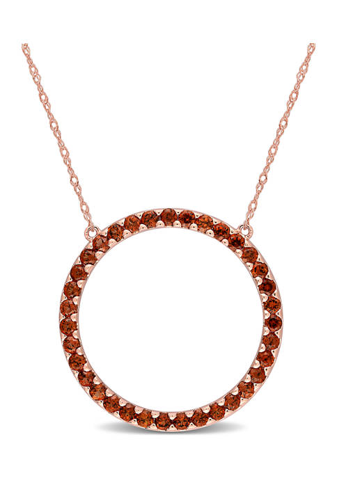 1.37 ct. t.w. Garnet Circle of Life Pendant with Chain in 10k Rose Gold