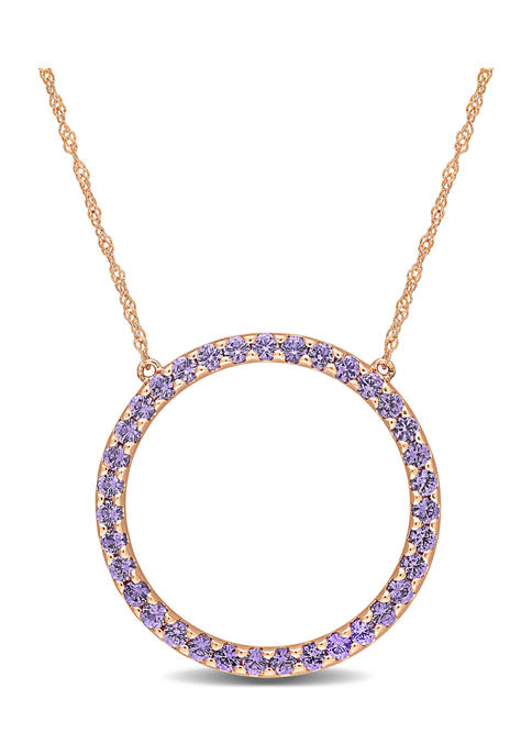 1.75 ct. t.w. Created Alexandrite Circle of Life Pendant with Chain in 10k Rose Gold