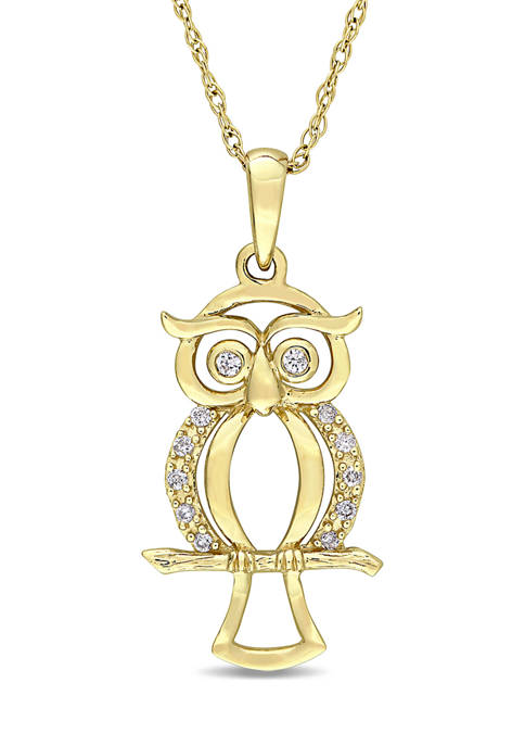Belk & Co. Diamond Accent Owl Necklace in