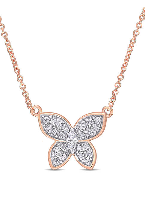 1/8 ct. t.w. Diamond Butterfly Pendant with Chain in 10k Rose Gold
